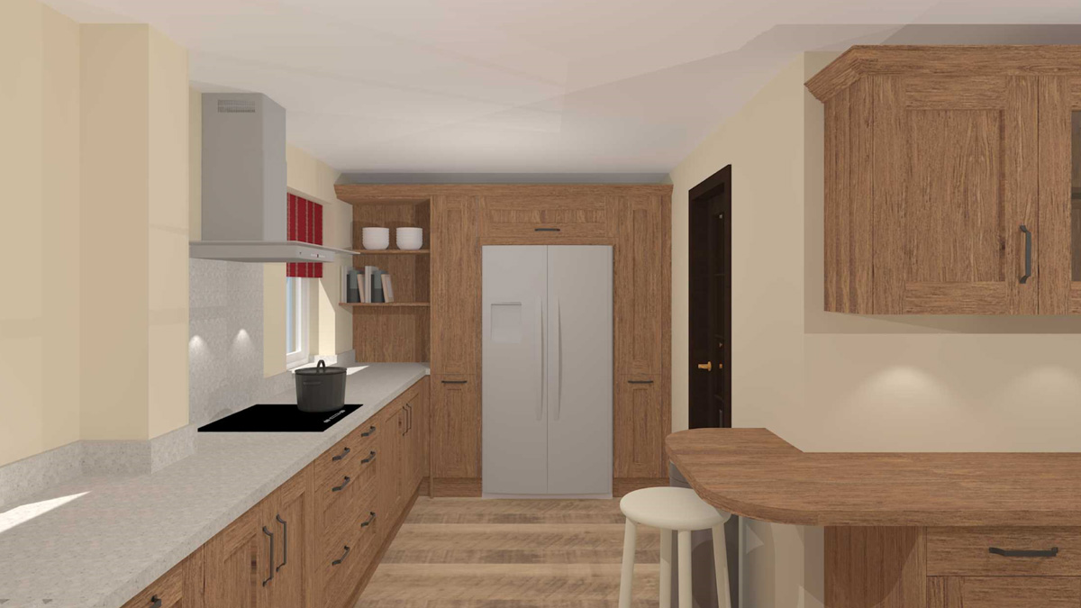 Food storage area with two pull-out larders and American style fridge freezer, with corner shelving for cookery books.